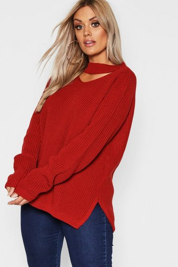 Rust orange Plus Choker Side Split Jumper
