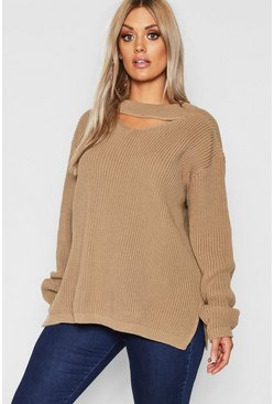 Plus Choker Side Split Jumper, Taupe Бежевый