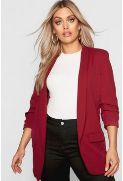 Wine red Plus Ruched Sleeve Blazer