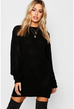 Black Petite Waffle Knit Oversized Jumper Dress