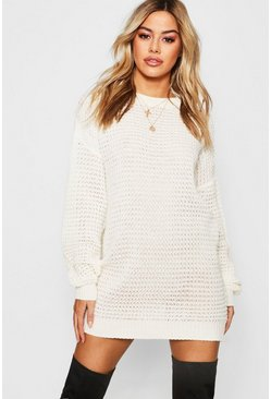 Cream white Petite Waffle Knit Oversized Jumper Dress