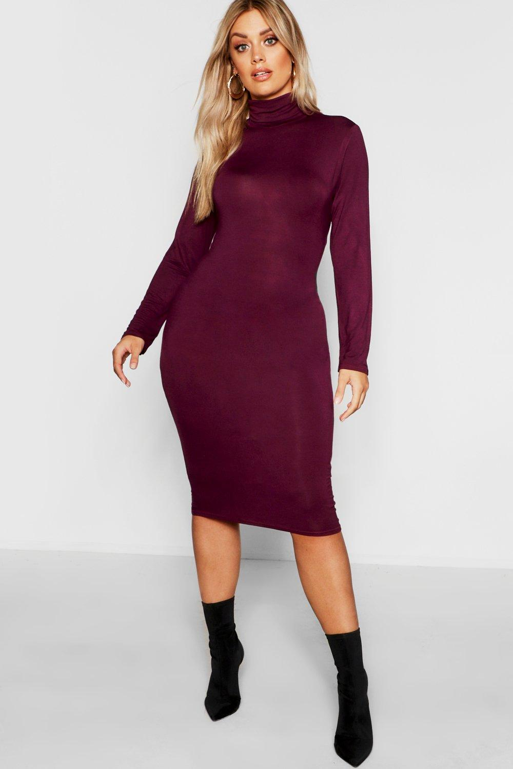 Plus Long Sleeve Roll Neck Midi Dress 7