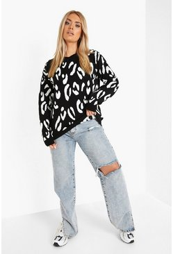 Black Plus Leopard Knitted Jumper