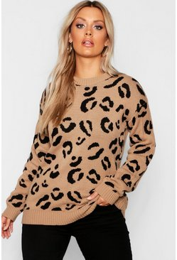 Camel beige Plus Leopard Knitted Jumper