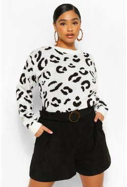 Cream white Plus Leopard Knitted Sweater