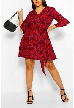 Red Plus Animal Print Horn Button Skater Dress