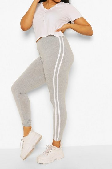 Grey Plus Side Stripe Legging