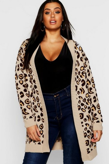 Camel beige Plus Leopard Knitted Oversized Cardigan