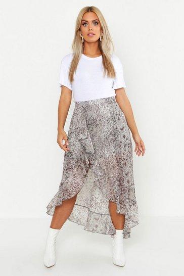 Brown Plus Snake Print Ruffle Skirt