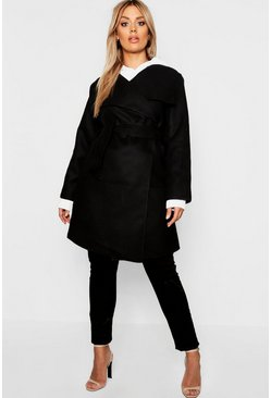 Black Plus Wool Look Wrap Front Coat