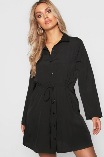 Black Plus Drawstring Waist Shirt Dress