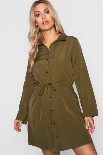 Khaki Plus Drawstring Waist Shirt Dress