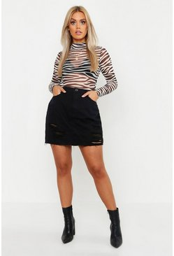 Black Plus Western Distressed Denim Skirt