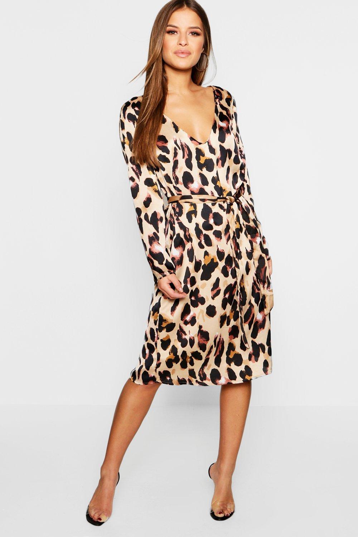 SALE Petite Satin Wrap Tie Leopard Print Dress