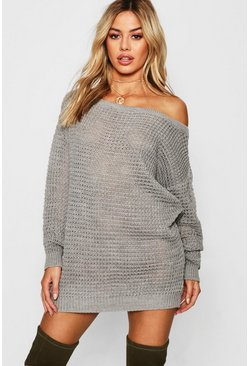 Grey Petite Waffle Knit Off The Shoulder Sweater Dress