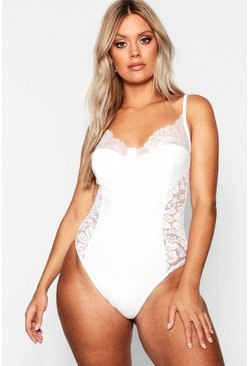 White Plus Lace Detail Bodysuit