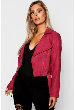 Berry red Plus Belted Suedette Crop Biker Jacket