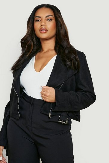Black Plus Belted Suedette Crop Biker Jacket