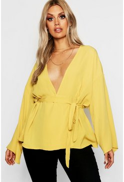 Mosterd yellow Plus Top Met Laag Decolleté En Kimono Mouwen
