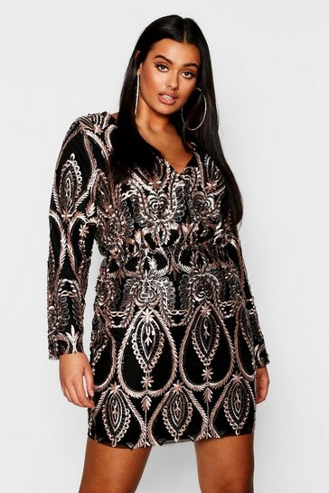 Black Plus Lace & Sequin Plunge Mini Dress