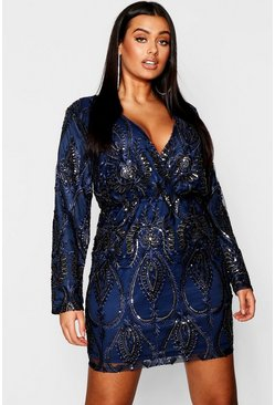 Navy Plus Lace & Sequin Plunge Mini Dress