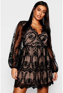 Black Plus Lace Plunge Skater Dress