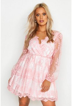 Blush pink Plus Lace Plunge Skater Dress