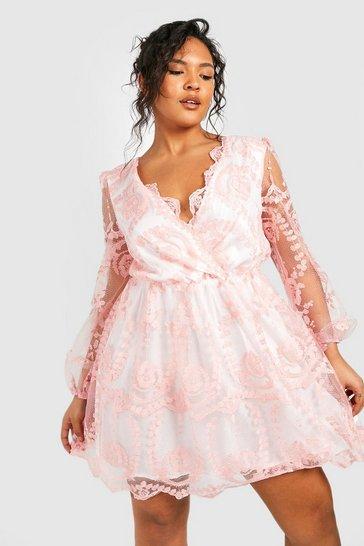Blush pink Plus Lace Plunge Skater Dress
