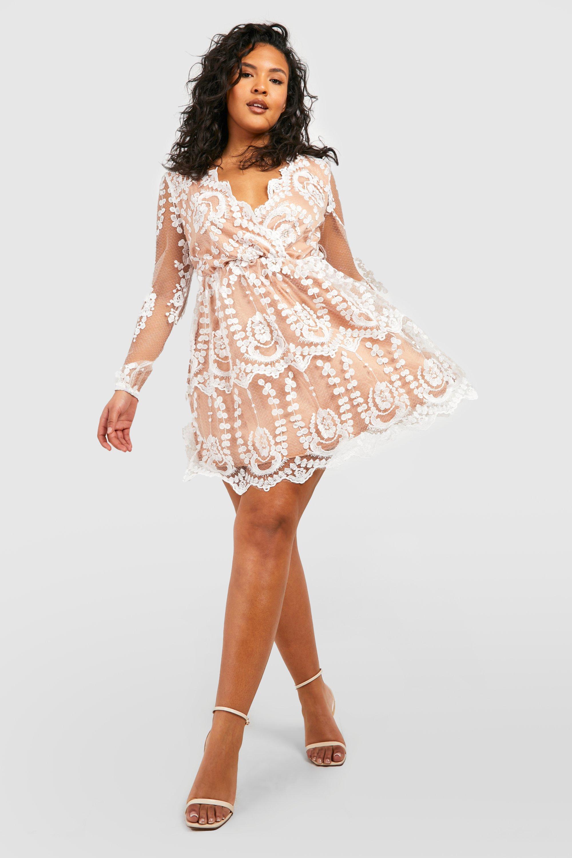 Plus Lace Plunge Skater Dress 10