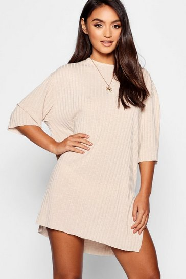 Sand beige Petite Rib Knitted Slouchy T-Shirt Dress