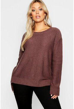 Mink beige Plus Oversized Rib Cuff Soft Knit Jumper