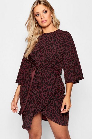 Brown Plus Leopard Kimono Tie Waist Wrap Dress