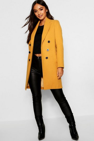 Mustard Petite Double Breasted Duster Coat