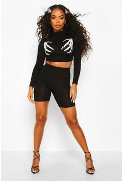 Black Petite Halloween Skeleton Hands High Neck Co-ord