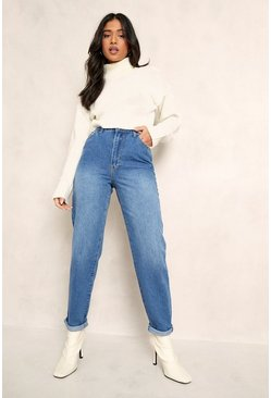 Mid blue blue Petite Mid Wash Classic Mom Jeans