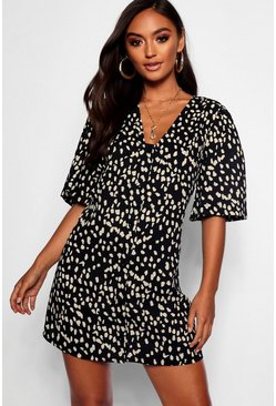 Black Petite Dalmatian Print Button Through Shift Dress