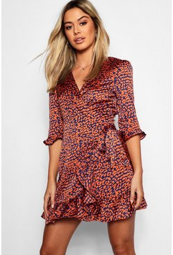 Orange Petite Satin Leopard Print Ruffle Wrap Tea Dress