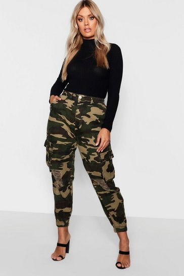 Khaki Plus Ripped Pocket Denim Camo Cargo Jeans