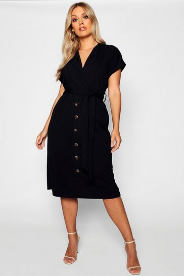 Black Plus Belted Button Down Midi Dress