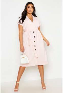 Blush pink Plus Belted Button Down Midi Dress