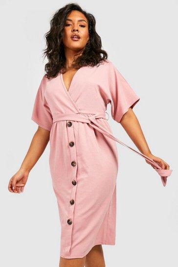 Blush pink Plus Belted Button Down Midi Dress