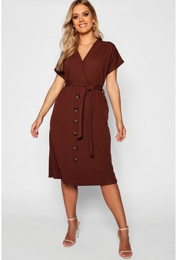 Chocolate Plus Belted Button Down Midi Dress