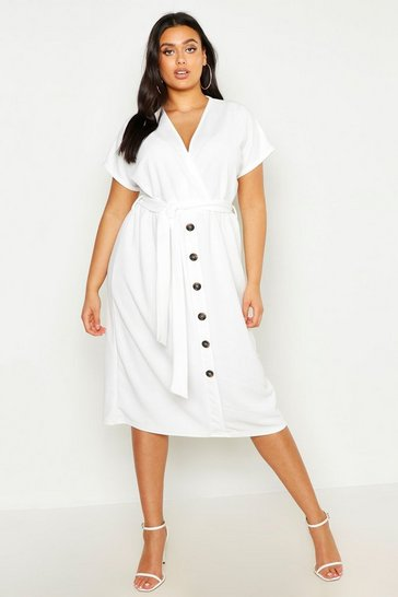 Ivory white Plus Belted Button Down Midi Dress