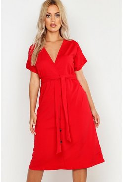 Red Plus Belted Button Down Midi Dress