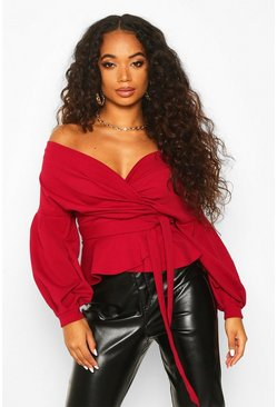 Berry red Petite Off The Shoulder Blouse