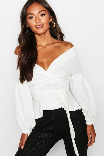 Ivory white White Petite Off The Shoulder Blouse