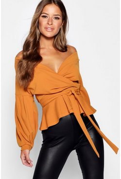 Mustard yellow Petite Off The Shoulder Blouse
