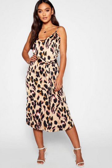 Brown Petite Leopard Print Strappy Midi Dress