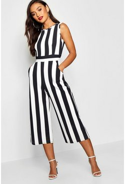 Black Petite Monochrome High Neck Striped Jumpsuit