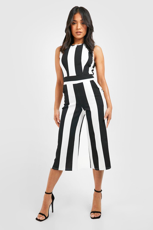 Black Jumpsuits Petite Monochrome High Neck Striped Jumpsuit